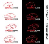 red car line logo on black and... | Shutterstock .eps vector #329529101