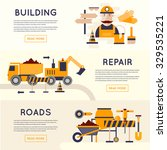 road construction equipment.... | Shutterstock .eps vector #329535221