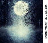 halloween background with moon. | Shutterstock . vector #329538185
