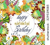 bright hand drown floral design ... | Shutterstock .eps vector #329539085