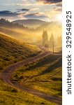 rural landscape. curve road to conifer forest in fog through  hillside meadow  in high mountains in evening light - stock photo