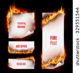 hot fire banners set with... | Shutterstock .eps vector #329551544