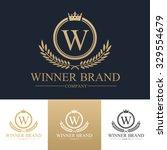 w letter winner logo luxury... | Shutterstock .eps vector #329554679
