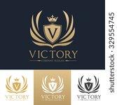 v letter victory luxury crest... | Shutterstock .eps vector #329554745