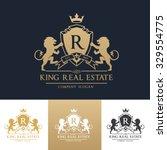 lion logo boutique brand real... | Shutterstock .eps vector #329554775
