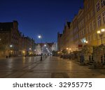 Long Market Square - street running through the center of old town center of Gdansk, Poland. - stock photo
