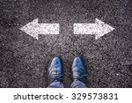 feet and two arrows painted on... | Shutterstock . vector #329573831