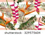 tropical flowers  palm leaves ... | Shutterstock .eps vector #329575604