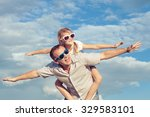 father and daughter playing in... | Shutterstock . vector #329583101