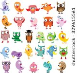 set of vector cartoon birds | Shutterstock .eps vector #329615561