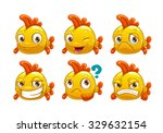 Funny Cartoon Yellow Fish With...