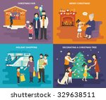 family with kids concept flat... | Shutterstock .eps vector #329638511