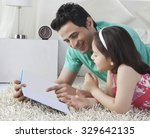 happy father and daughter...   Shutterstock . vector #329642135