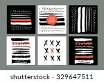 set of creative freehand cards. ... | Shutterstock .eps vector #329647511