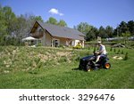 man cutting cutting his lawn | Shutterstock . vector #3296476