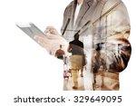 double exposure of business man ... | Shutterstock . vector #329649095