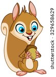 Happy Squirrel Holding Nut