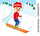 happy little boy skiing on snow ... | Shutterstock .eps vector #329660375