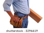 Carpenter wearing a toolbelt carrying lumber isolated over white - stock photo