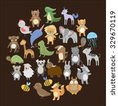 set of cute woodland animals... | Shutterstock .eps vector #329670119