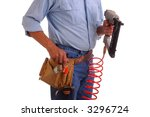 Carpenter wearing a toolbelt holding a nailgun isolated over white - stock photo