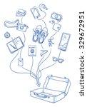 set of personal belongings... | Shutterstock .eps vector #329672951
