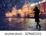 girl in a night city snowflake... | Shutterstock . vector #329682101
