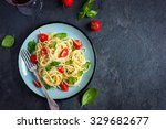 spaghetti pasta  with cherry... | Shutterstock . vector #329682677