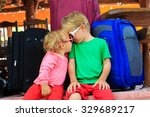 little boy and toddler girl... | Shutterstock . vector #329689217