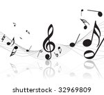 vector musical notes staff... | Shutterstock .eps vector #32969809