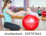 mother with happy baby doing... | Shutterstock . vector #329707661