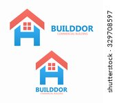 Stock vector letter h and real estate logo template 329708597