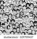 kids   hand drawn seamless... | Shutterstock .eps vector #329709437