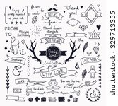 hand drawn hipster doodle... | Shutterstock .eps vector #329713355