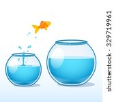 goldfish making a leap of faith ... | Shutterstock .eps vector #329719961