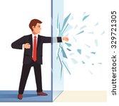 businessman breaking through...   Shutterstock .eps vector #329721305