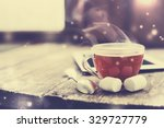 digital tablet and cup of tea... | Shutterstock . vector #329727779