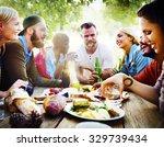 diverse yard summer friends fun ... | Shutterstock . vector #329739434