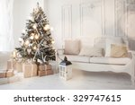 christmas tree with presents... | Shutterstock . vector #329747615