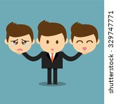businessman holding happy and... | Shutterstock .eps vector #329747771