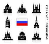 russia travel landmarks icon.... | Shutterstock .eps vector #329757515
