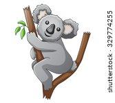 cute koala cartoon on a tree | Shutterstock .eps vector #329774255