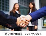 business handshake and business ... | Shutterstock . vector #329797097