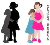 two adorable little girls in... | Shutterstock .eps vector #329803985