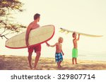 father and sons going surfing... | Shutterstock . vector #329807714