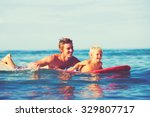 father and son going surfing... | Shutterstock . vector #329807717