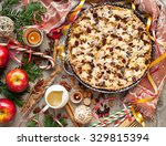 christmas apple pie with stars ... | Shutterstock . vector #329815394