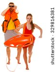 Lifeguards With Rescue Tube...