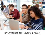 group of a students studying in ... | Shutterstock . vector #329817614