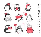 cute hand drawn penguins set  ... | Shutterstock .eps vector #329821625